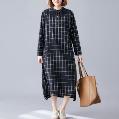 La Belleza小立領開釦方形大格子側口袋附綁帶下擺側開叉連身洋裝