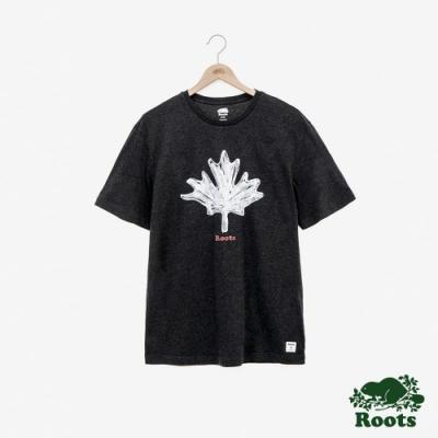 男裝Roots 復古手繪楓葉短袖T恤-黑
