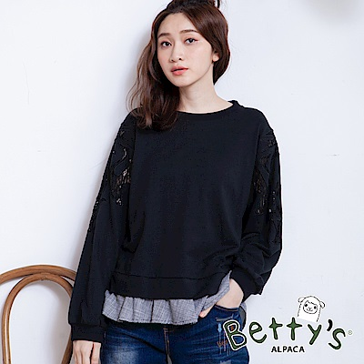 betty's貝蒂思 微透蕾絲格纹拼接T-shirt(黑色)