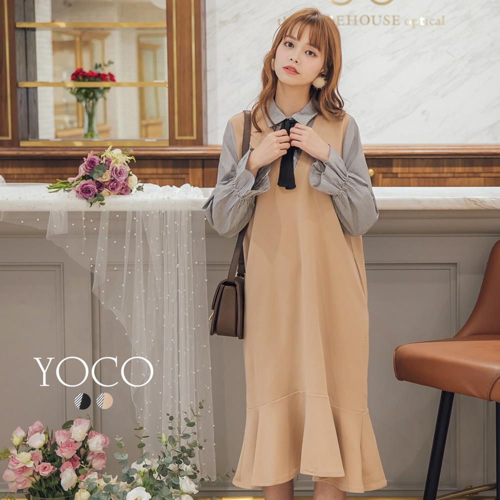 東京著衣-yoco 日系甜心假二件式拼接魚尾洋裝-S.M.L(共二色)