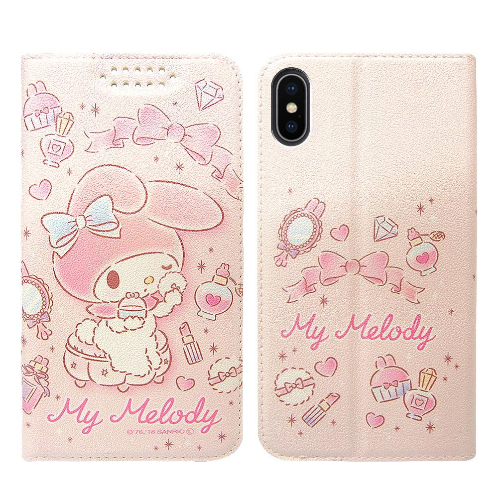 三麗鷗授權 iPhone Xs Max 6.5吋 粉嫩系列彩繪磁力皮套(粉撲) @ Y!購物
