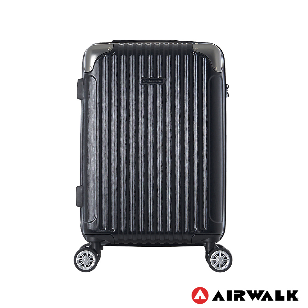AIRWALK- 都市行旅20吋特光立體拉絲金屬護角輕質拉鍊行李箱 - 極光黑