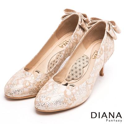 DIANA 漫步雲端LADY款--法式蕾絲婚宴跟鞋-米