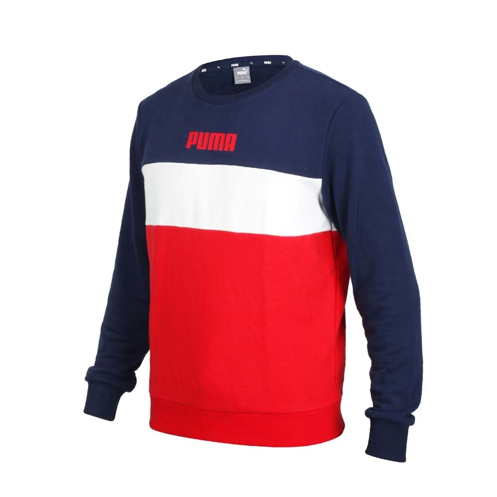PUMA 男基本系列長袖圓領T恤-歐規 刷毛 保暖 大學T 休閒 上衣 58715606 丈青白紅