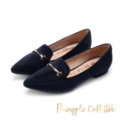 Pineapple Outfitter-FATIMA馬銜扣絨面樂福鞋-特殊紋深藍色