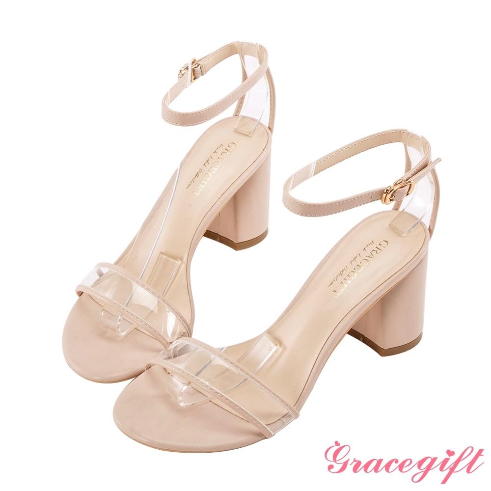 Grace gift-透明一字繫帶造型跟鞋 杏