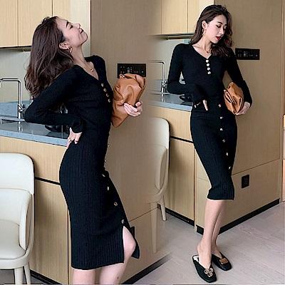 DABI 韓國風洋氣針織衫開叉裙時尚套裝長袖裙裝