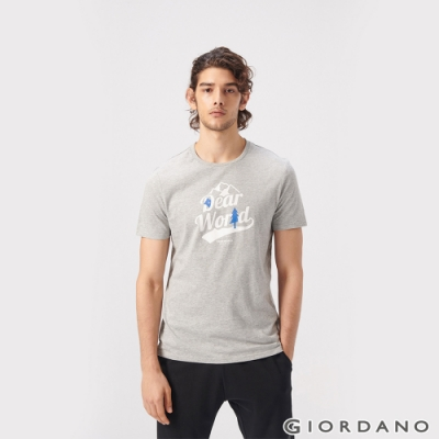 GIORDANO 男裝DEAR WORLD系列印花T恤-31 中花灰