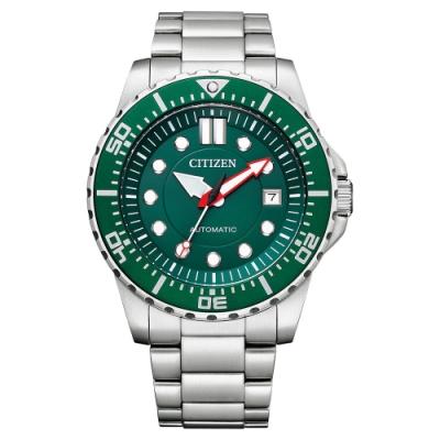 CITIZEN Mechanical 都會紳士機械腕錶-銀X綠-NJ0129-87X-43mm