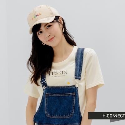 H:CONNECT 韓國品牌 配件 彩虹logo字樣棒球帽-米色