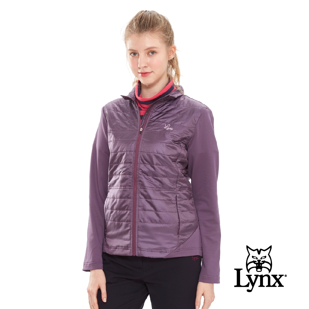【Lynx Golf】女款日本進口布料點點紋路薄鋪棉長袖外套-深紫色