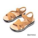 達芙妮DAPHNE 涼鞋-交叉條帶魔鬼氈厚底涼鞋-棕