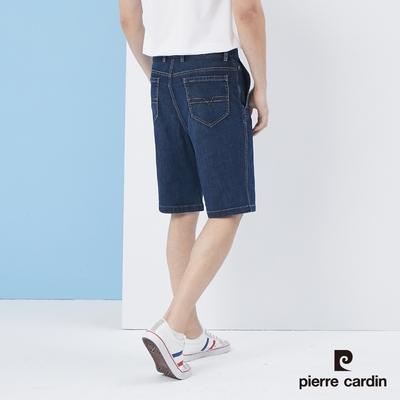 Pierre Cardin皮爾卡登  男裝 彈性平口牛仔短褲-藍(5217964-38)