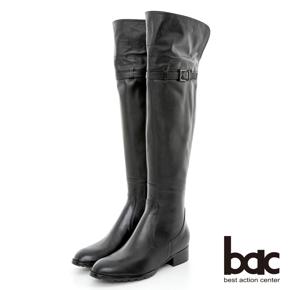 【bac】2WAY百搭兩穿翻摺過膝長靴-黑色