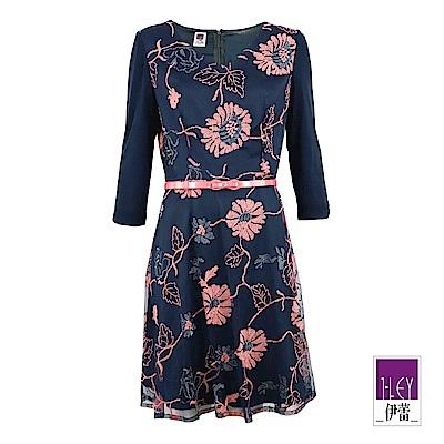 ILEY伊蕾 花朵配色刺繡V領洋裝(藍)