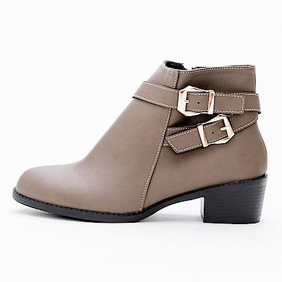 River&Moon短靴-韓系交叉雙金扣粗跟短靴-可可灰