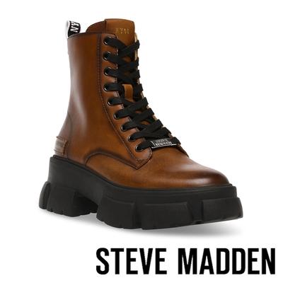 STEVE MADDEN-TANKER 經典綁帶字母厚底中筒靴-咖啡色