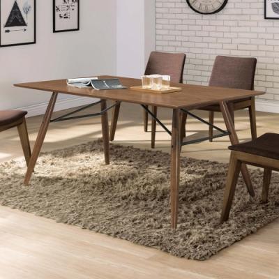 H&D 伯明罕淺胡桃鐵件5尺餐桌