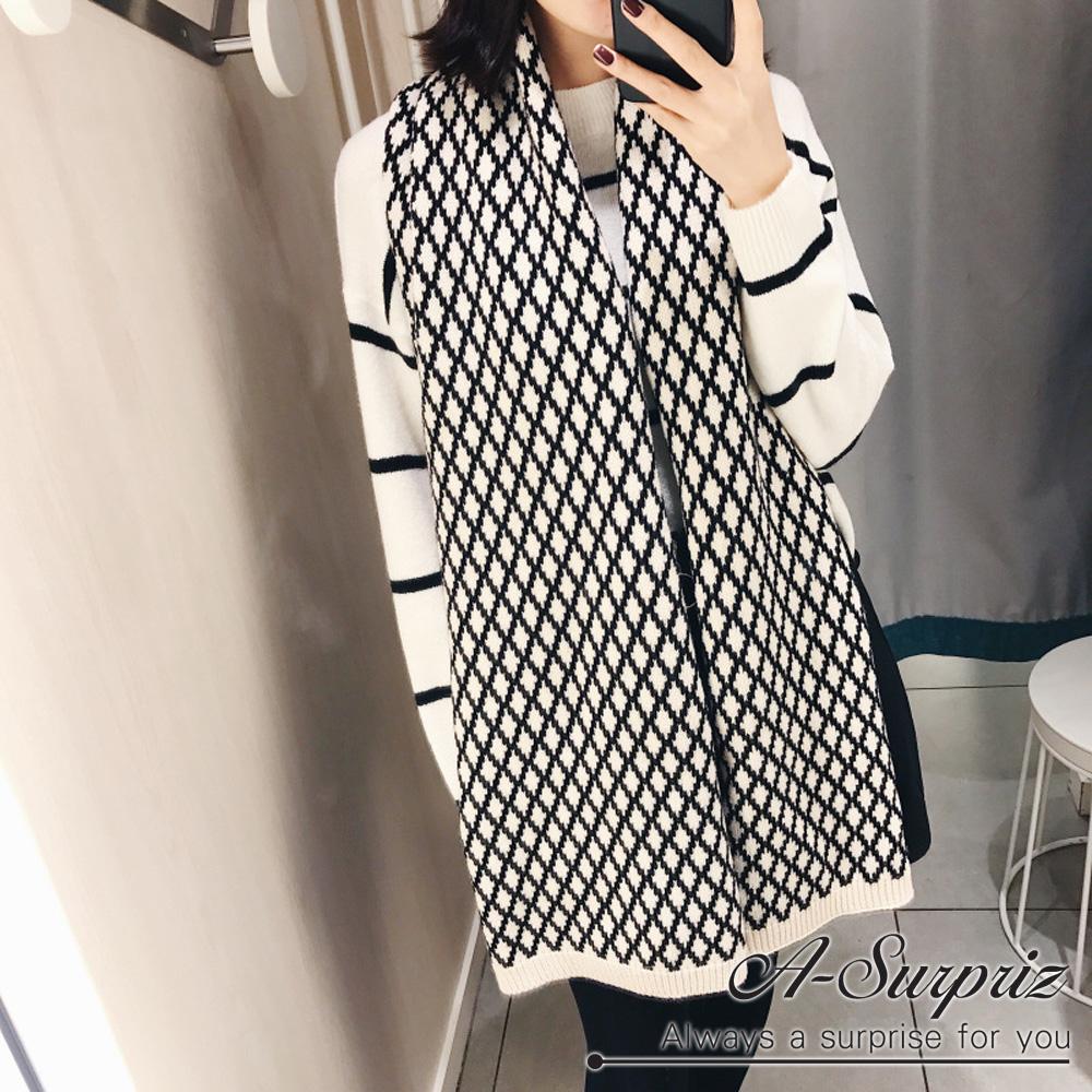 A-Surpriz 拼接雙色菱格紋長版圍巾(白黑)