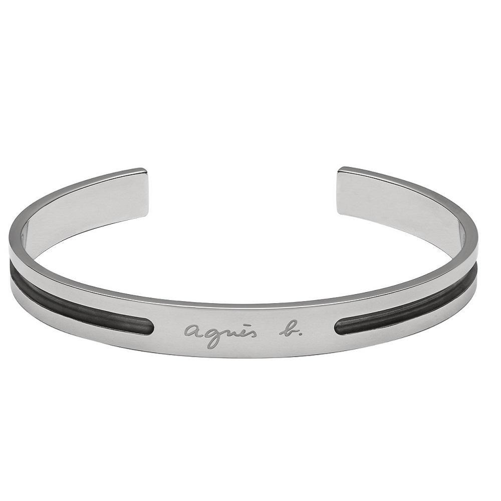 agnes b. 白鋼男性手環(銀)(情侶對環)