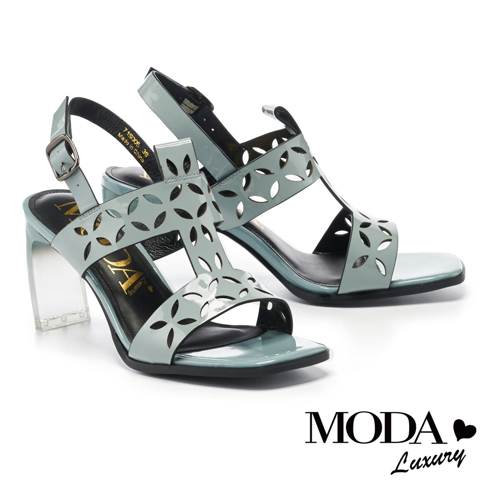 涼鞋 MODA Luxury 前衛獨特漆皮漸層透明方頭高跟涼鞋-藍