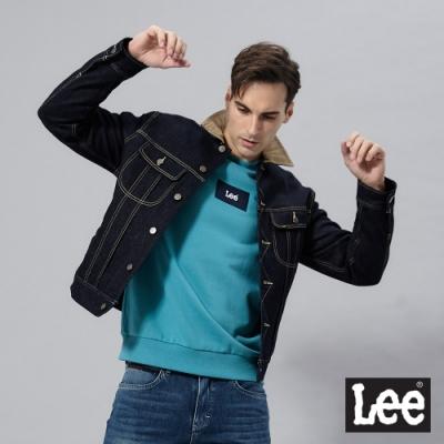 Lee 牛仔外套 雙層內裡法蘭絨拼接領 男 深藍