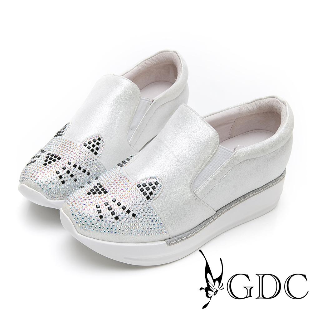 GDC-俏皮貓咪水鑽厚底舒適休閒鞋-銀色