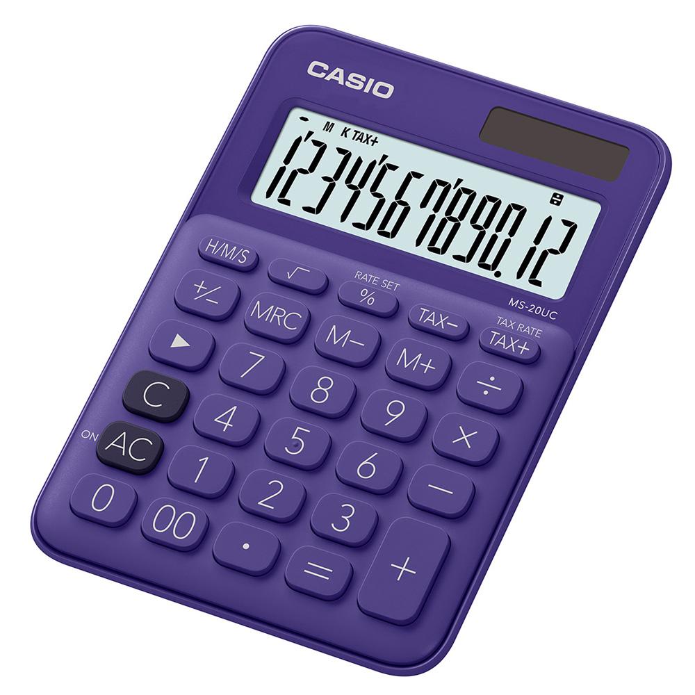 CASIO 12位元甜美馬卡龍色系攜帶型計算機(MS-20UC-PL)葡萄紫