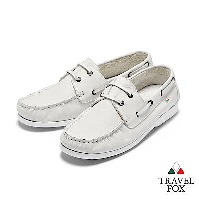 TRAVEL FOX(男) 我的天空 超軟苯染牛皮二孔經典親膚帆船鞋 - 棉雲白