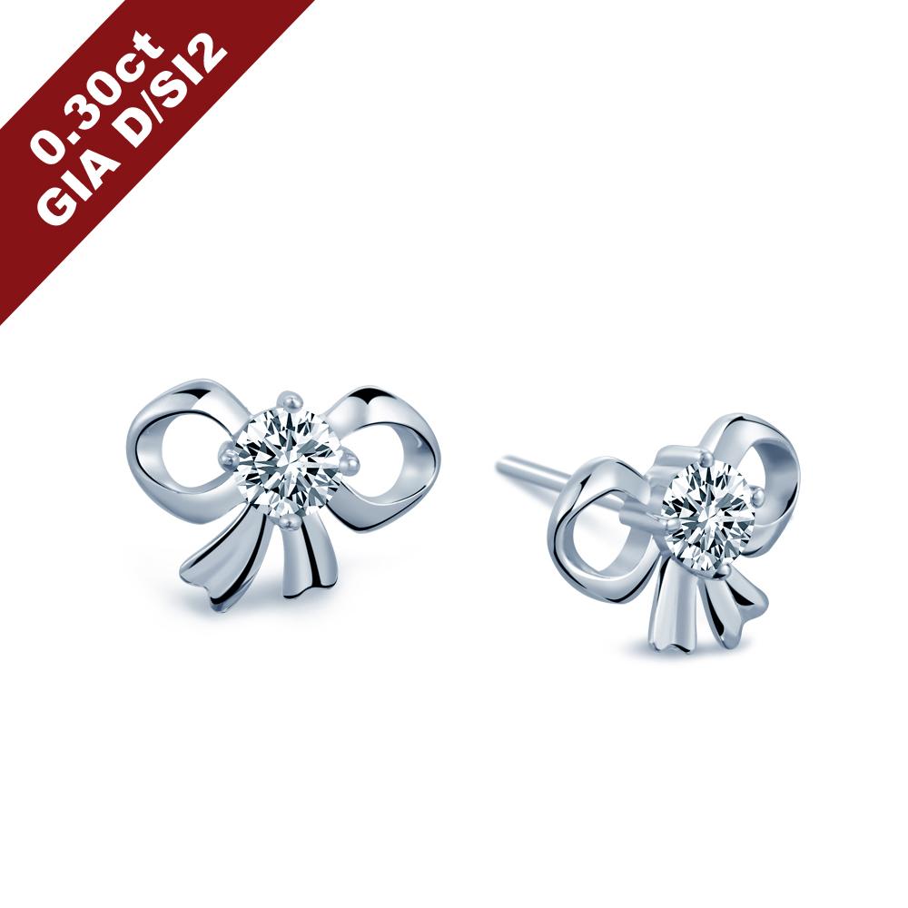 Alesai 艾尼希亞鑽石 GIA 30分 D/SI2 蝴蝶結鑽石耳環