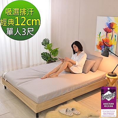 LooCa 經典超透氣12cm釋壓記憶床墊-單人