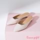Grace gift-素面方口圓跟穆勒鞋 米白 product thumbnail 1