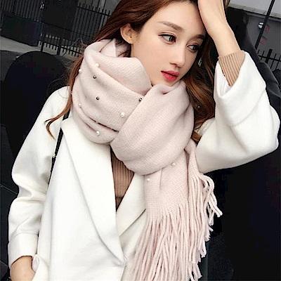 梨花HaNA 華麗珍珠綴飾柔感圍巾粉紅