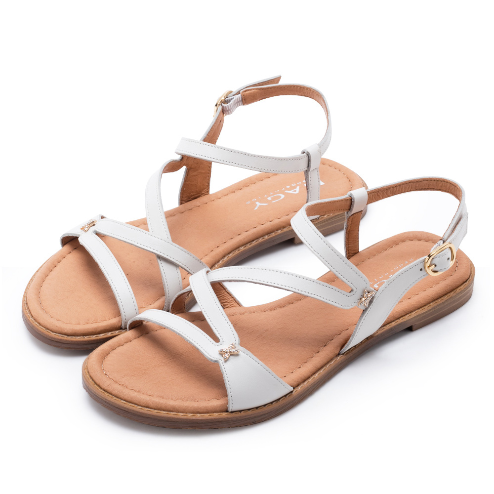 MAGY 休閒時尚 造型剪裁皮革平底涼鞋-白色