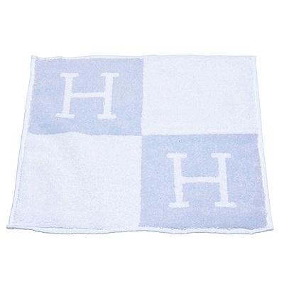 HERMES 經典Avalon H LOGO純棉方巾(藍)