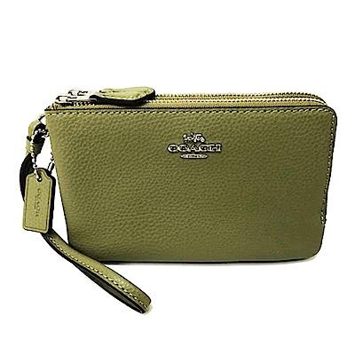 COACH 立體金屬馬車皮革L型雙層拉鍊手拿包零錢包(橄欖綠)