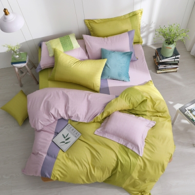 OLIVIA  羅伯特 綠X粉 加大雙人床包冬夏兩用被套四件組 200織精梳純棉 台灣製