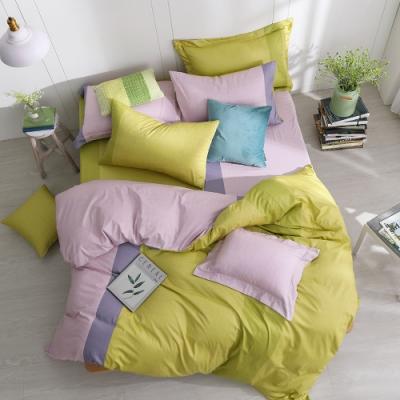 OLIVIA 羅伯特 綠X粉 特大雙人床包冬夏兩用被套四件組 200織精梳純棉 台灣製
