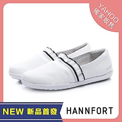 HANNFORT CALIFORNIA甜美荷葉帆布休閒鞋-女-甜美白