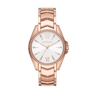 MICHAEL KORS經典亮鑽玫瑰金時尚腕錶MK6694