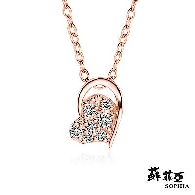 蘇菲亞SOPHIA - 輕珠寶系列偏心0.06克拉玫瑰金鑽石套鏈