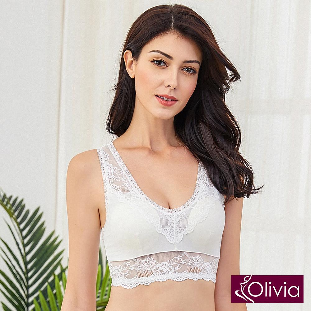 Olivia 無鋼圈大尺碼舒棉蕾絲睡眠內衣-白色