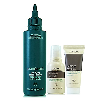AVEDA 頭皮淨瑕潔膚凝膠150ml+復原配方洗髮精50ml+潤髮乳40ml
