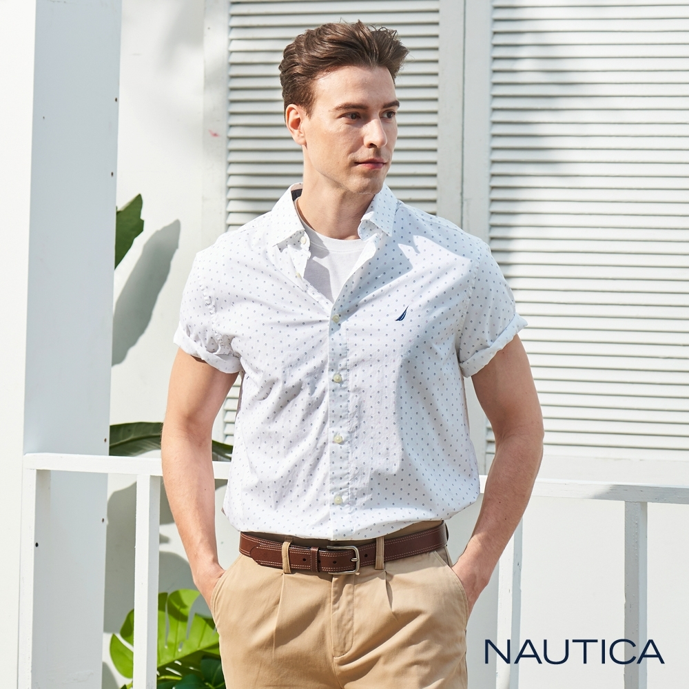 Nautica撞色小圖騰短袖襯衫-白色