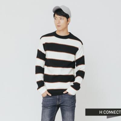 H:CONNECT 韓國品牌 男裝-寬條柔軟針織上衣-棕(快)