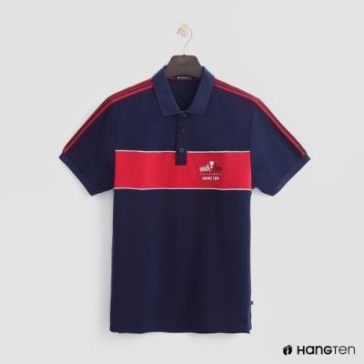 Hang Ten - 男裝 - 帥氣logo色塊拼接POLO衫 - 藍