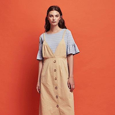 CACO-排釦V領吊帶裙-女【RSH176】