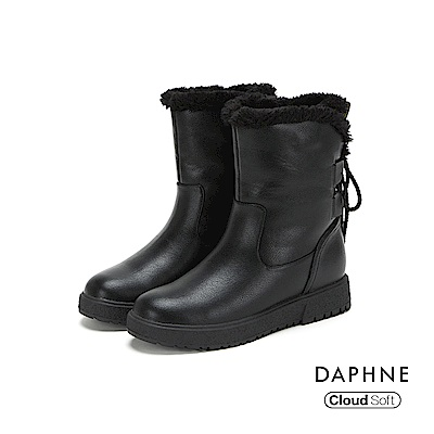 達芙妮DAPHNE 短靴-個性後綁帶雲軟短毛內裡短靴-黑