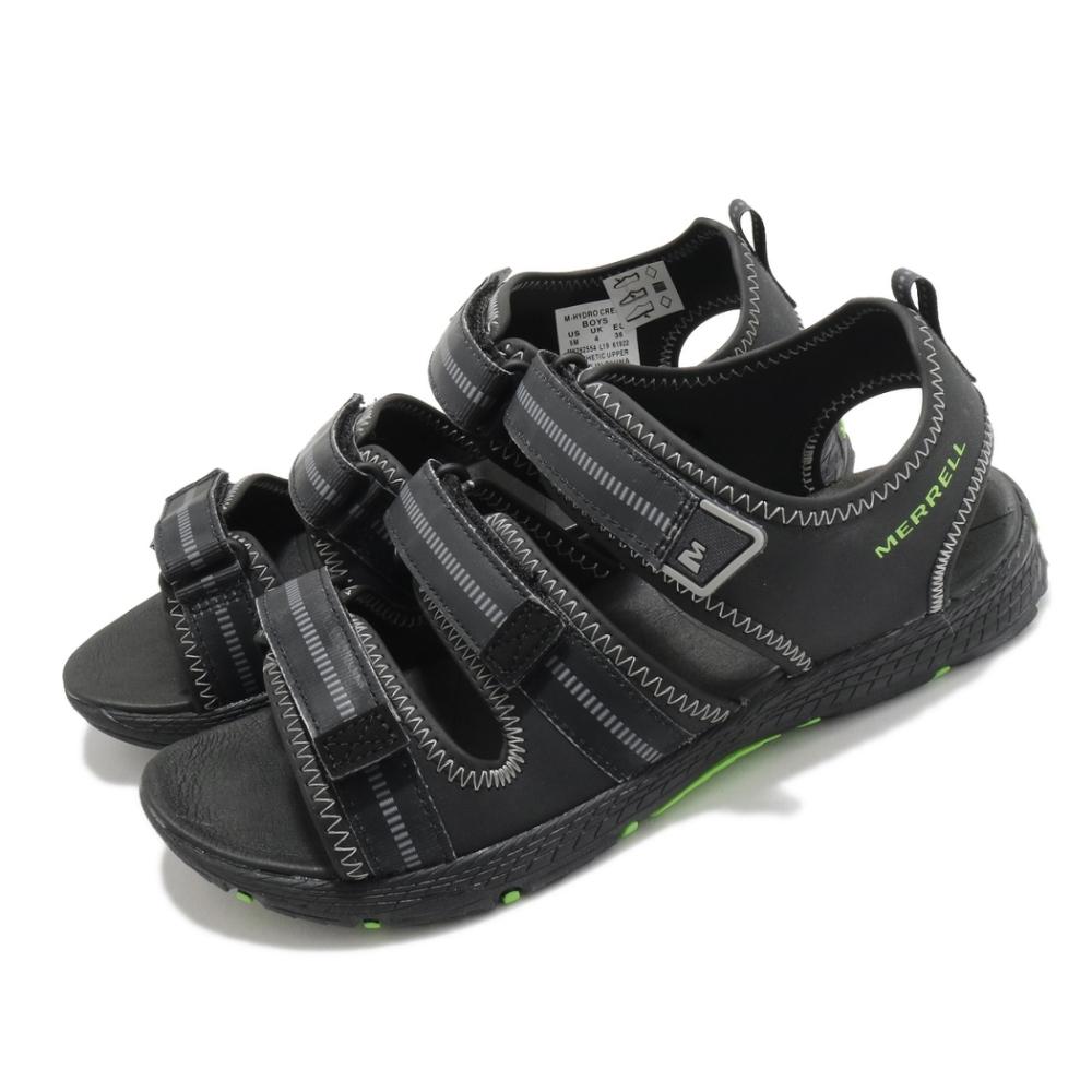 Merrell 涼鞋 M-Hydro Creek 運動 女鞋 童鞋 魔鬼氈 透氣 鞋面寬度可調 中大童 黑 綠 MK262554