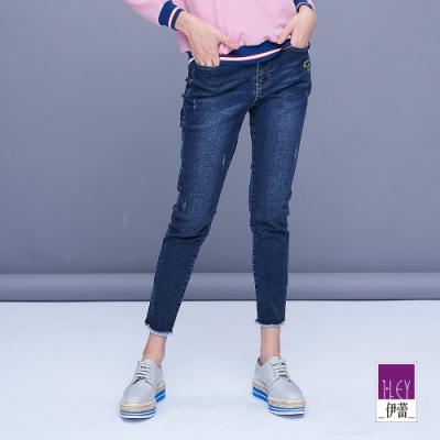 ILEY伊蕾 休閒感彈性修身牛仔窄管褲(藍)